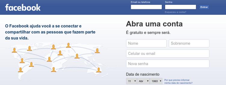 Login Facebook sem e-mail ou celular