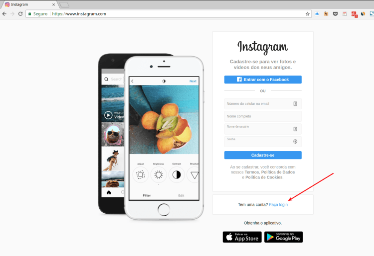 Acessar conta Instagram