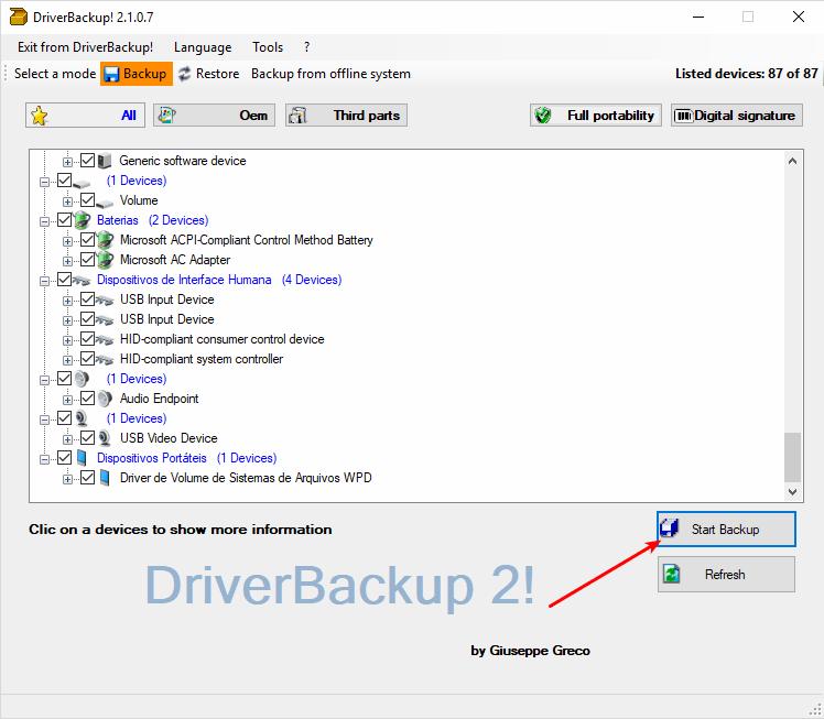 DriverBackup! - Tela principal