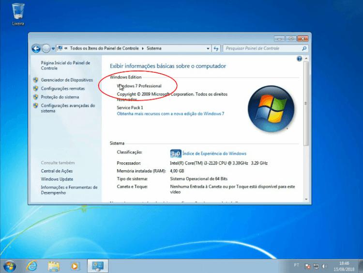 Versão do Windows instalada atualmente