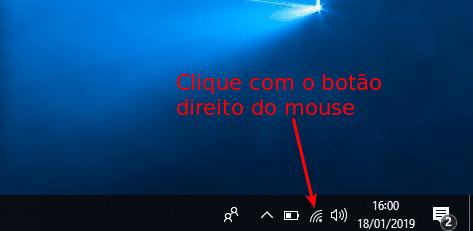 Clicar com o botão direito do mouse no ícone do Wifi