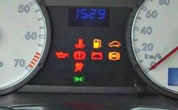 símbolos del tablero del automóvil