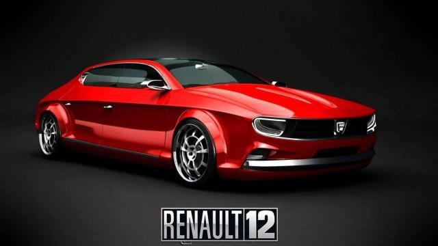 Renault 12 prototipo rojo vista frontal y lateral derecha