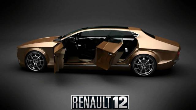 Renault 12 prototipo dorado vista lateral izquierda
