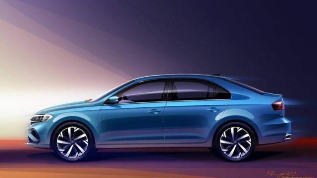 Nuevo VW Polo Sedan 2021 celeste vista lateral izquierda