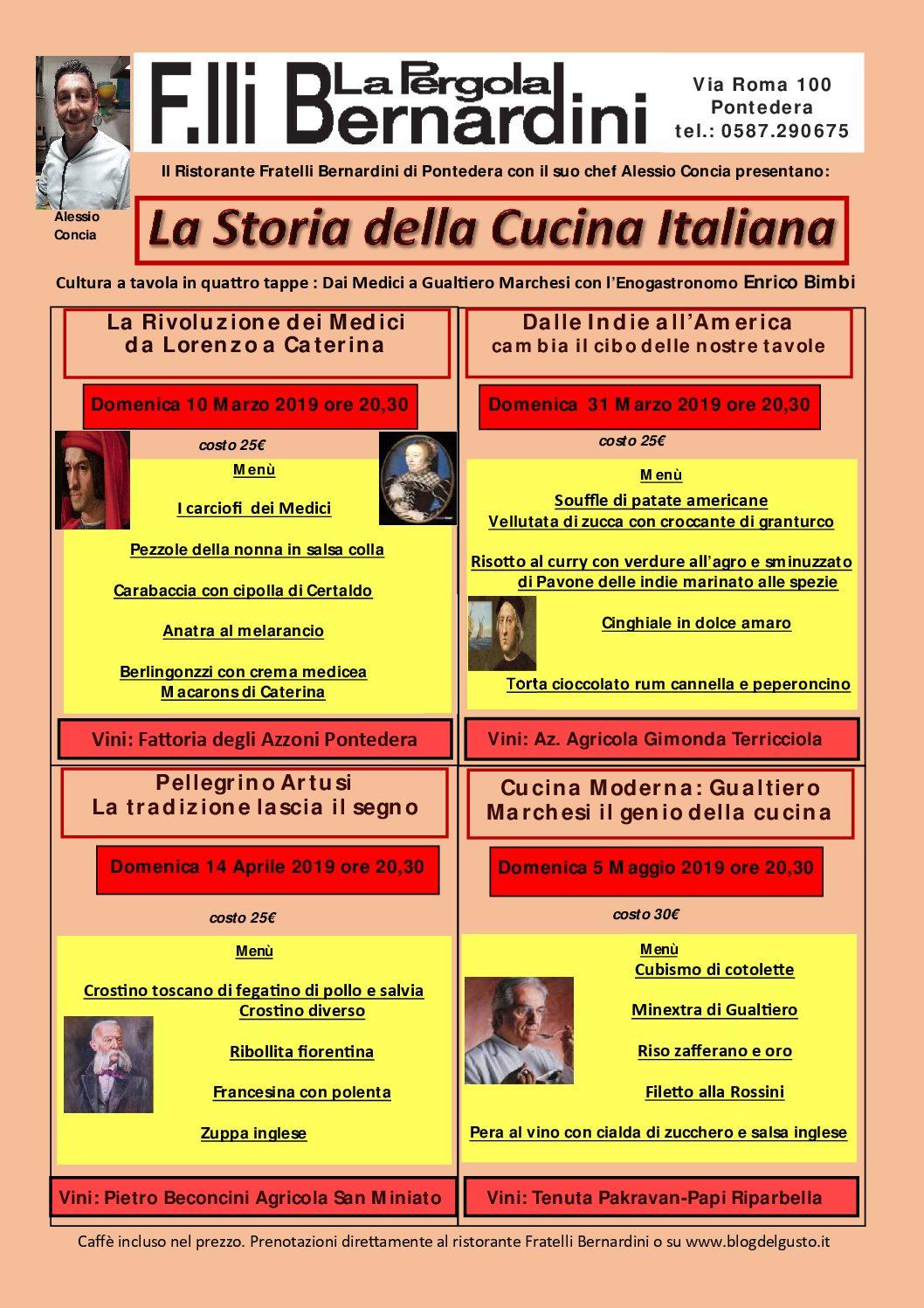 La Storia Della Cucina domenica 10 marzo parte la rassegna sulla storia della