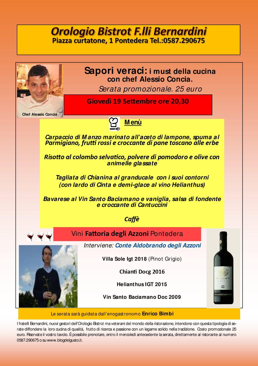 I F.lli Benardini presentano l'Orologio Bistrot con evento promozionale dedicato ai must della cucina e ai vini della Fattoria degli Azzoni