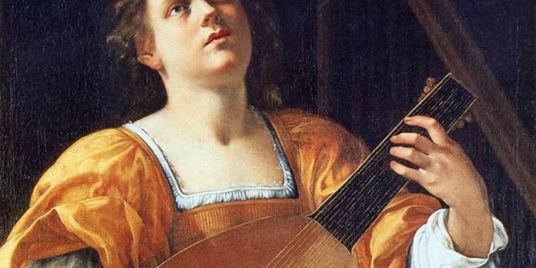 Maddalena-Casulana-Artemisia-Gentileschi-Santa Cecilia-mentre-suona-il-Liuto-dipinto