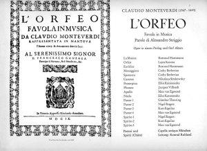 L'Orfeo di Monteverdi. Copertina Libretto