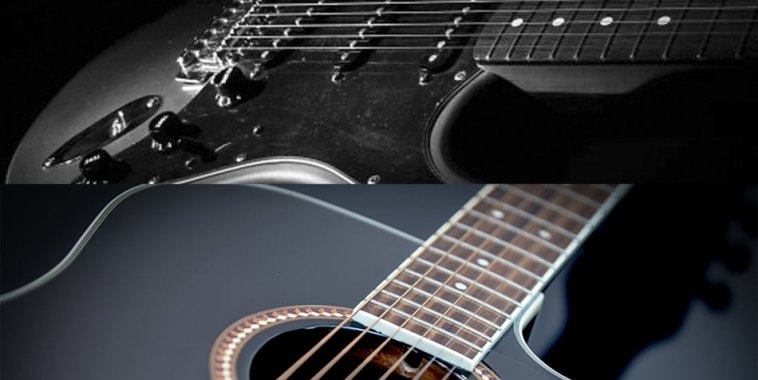 chitarra acustica ed elettrica