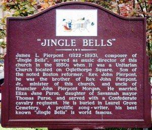La targa di Savannah che rivendica la paternità di Jingle Bells