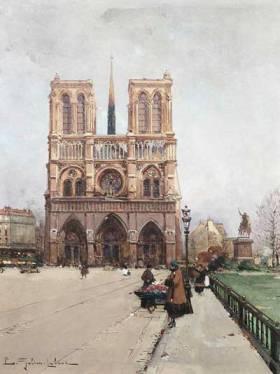 Dipinto di Eugène Galien-Laloue: La donna dei fiori a Notre-Dame