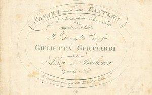 Dedica alla Contessa Giulietta Guicciardi della Sonata op.27 n.2 di Beethoven