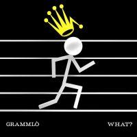 copertina del disco dei Grammlò: fondo nero con un pentagramma e un omino stilizzato che corre