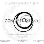 copertina del disco di Francesco Di Fiore: Concerto Ostinato con fondo bianco e due O che si intersecano