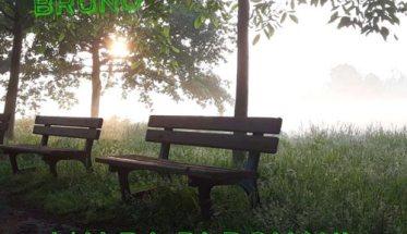 Copertina del disco di Pino Bruno: L'alba di domani con due panchine vuote in un parco