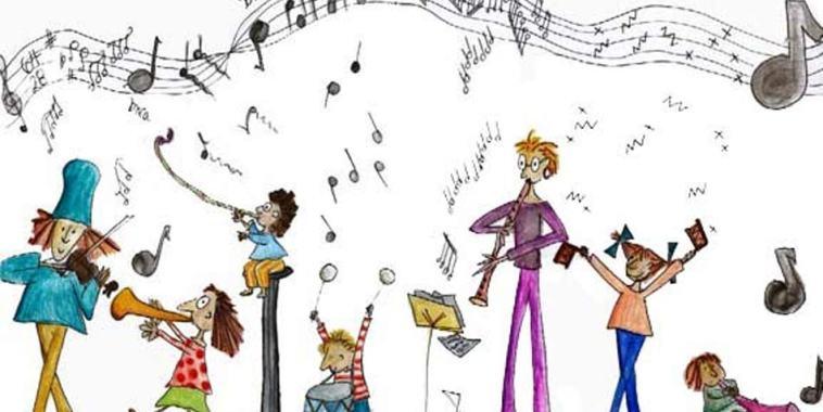 bambini di ogni etnia mentre suonano insieme durante l'Educazione musicale multiculturale