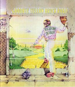 Il disegno della copertina del disco di Elton John Goodbye Yellow Brick Road