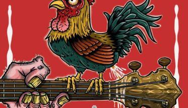 un gallo sul manico di una chitarra nella copertina con fondo rosso del disco Woodcock degli Iron Mais: