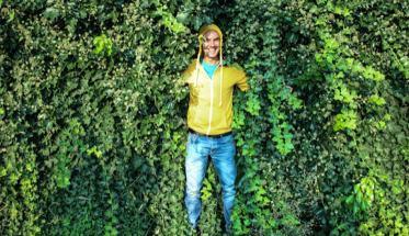 Cato in mezzo all'edera verde