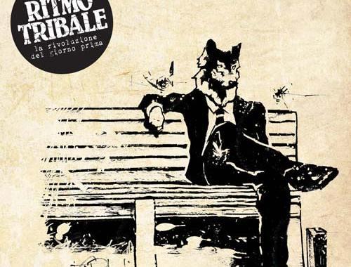 uomo con testa da lupo seduto su una panchina