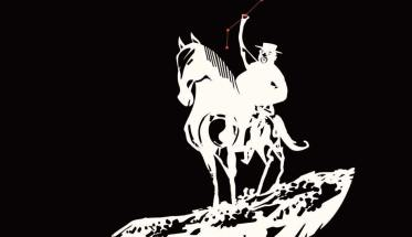 """Alberto """"Caramella"""" Foà a cavallo nel disegno di copertina del disco"""