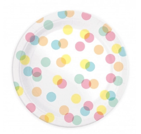 assiettes confetti pastel vegaooparty