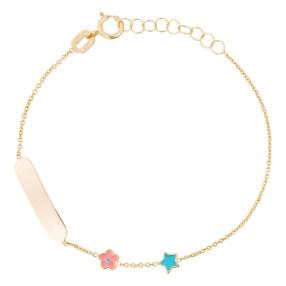 bracelet-gourmette-or-jaune-enfant-petites-etoiles