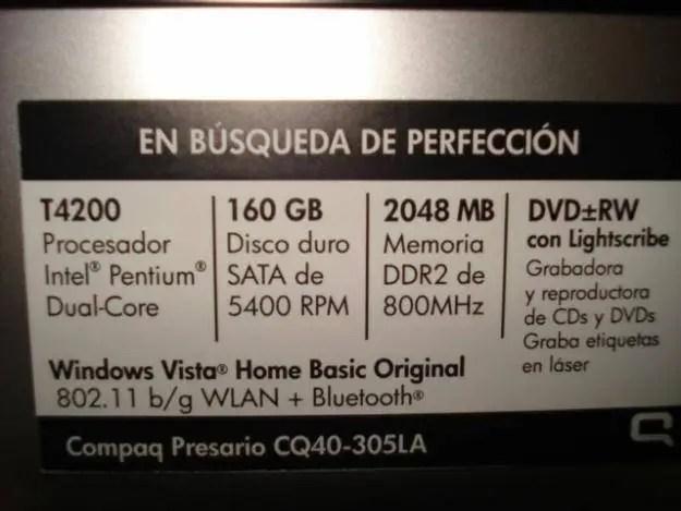 , Compaq Presario CQ40-305, Características, Precio y Drivers