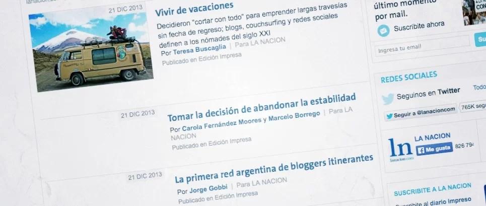 Bloggers de viajes en el diario La Nación