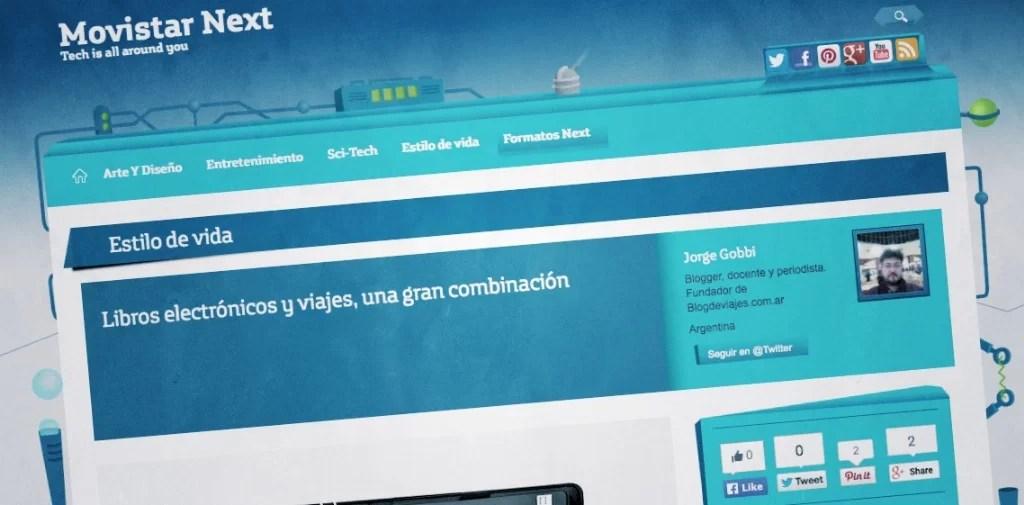 Video en dispositivos móviles, notas de viaje, diarios de viaje y otras notas en Movistar Next