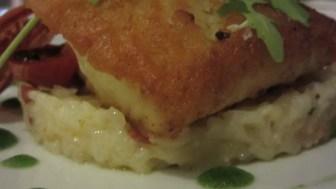 Corvino con risotto y chorizo, White Cuisine