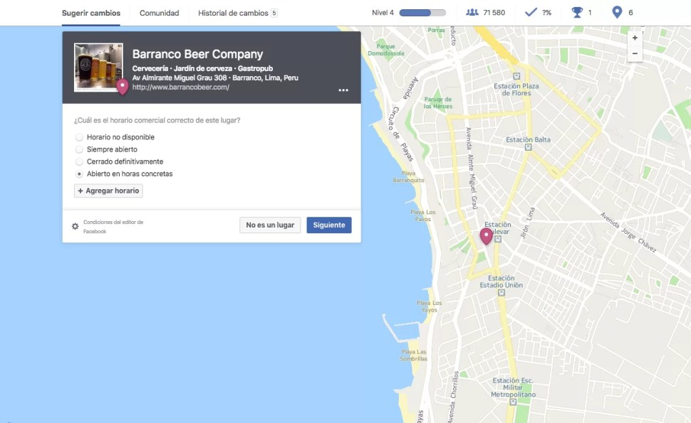 Facebook y los lugares
