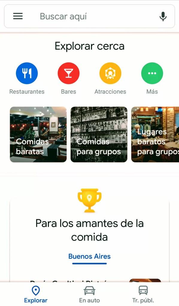Google Maps recomendaciones