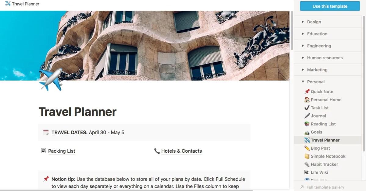 Notion, de los viajes a los blogs