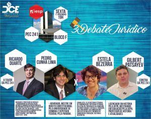 Com posições contrárias, Cunha Lima e Estela fazem debate sobre PEC 241