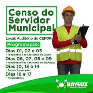 Prefeitura de Bayeux convoca servidor para atualização de cadastro através do censo