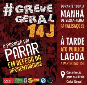 GREVE GERAL: mais de 26 categorias paralisam neste dia 14 na Paraíba