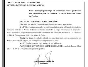Governo barra nomeações de condenados pela Lei Maria da Penha na Paraíba