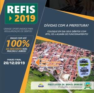 Negociação de débitos fiscais: Prefeitura de Monte Horebe lança Refis 2019
