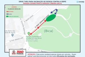 Prefeitura de João Pessoa implanta três pontos para vacinação de idosos por 'Drive thru'