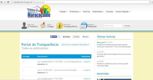 Prefeitura mantém um site na internet, mas além de cumprir a lei de forma parcial, o município peca na apresentação dos dados e 'esconde as despesas' da população.