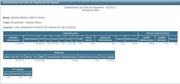 Folha do mês de Fevereiro deste ano comprova que os salários de Helena Pavão estão entre os mais altos entre os funcionários do TCE