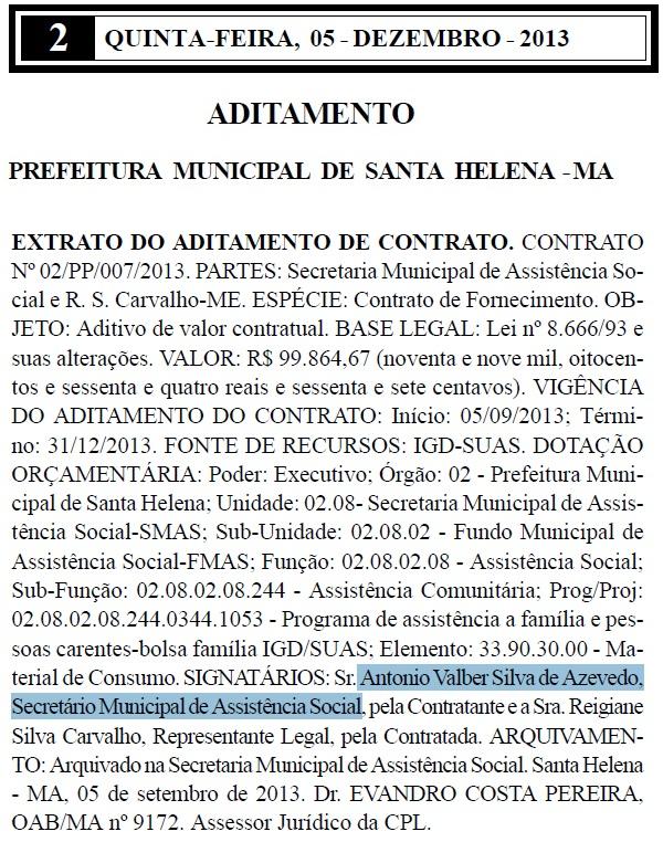 Extrato de contrato mostra ato assinado pelo secretário
