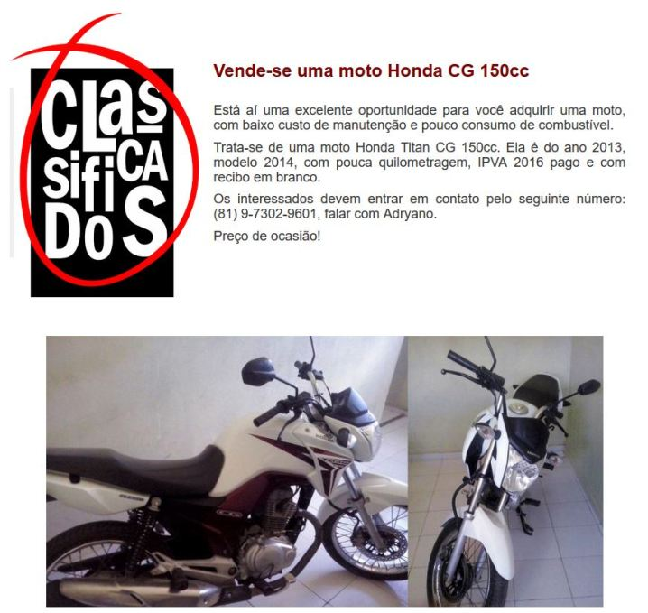 Classificados moto
