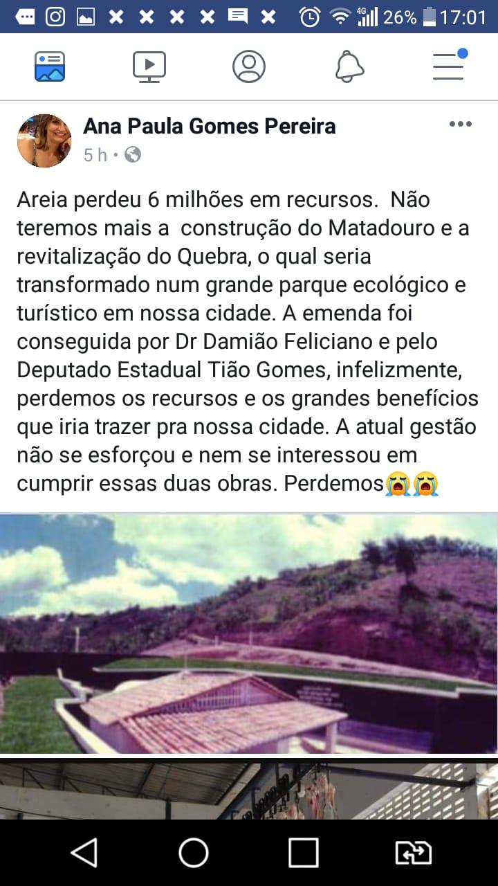 ANAS - Prefeito de Areia não se esforça e perde mais de R$ 6 milhões em recursos que seriam destinados a melhorias no município