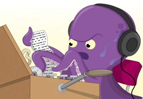 A cartoon octopus tries to break an Enigma code
