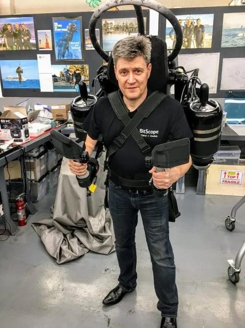 Bruce Tulloch wearing a jetpack