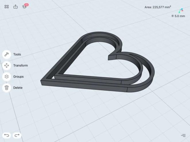 Heartshape bookmark measurements