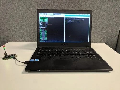 A Raspberry Pi zero connected to a laptop - GPIO expander